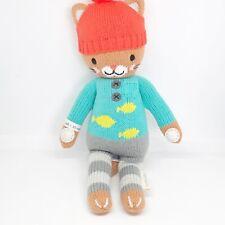 "Cuddle + Kind Maximus The Cat 14"" Knit Plush Doll Stuffed Animal Fish Sweater"