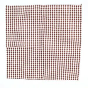 """Men's Hand Rolled Cotton Pocket Square Brown White Gingham Check 11.75"""""""