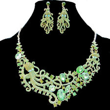 Rare Octopus Paul Necklace Earring Set Rhinestone Crystal Green Drop Animal