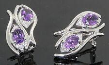 RaJola 18k Gold Deco Designer Italy Earrings Diamond Amethyst Omega #31841