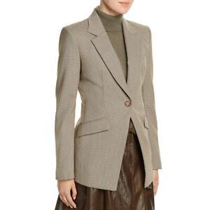 Lafayette 148 New York Womens Beige Check One-Button Blazer Jacket 14 BHFO 8513