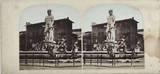 Florence Fontaine Statue Place Photographie Stereo Vintage Albumine c1860