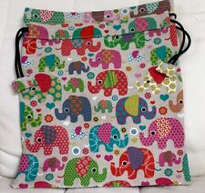 Handmade Linen Look Drawstring Cotton Gift/Tidy Bag. Multi Coloured Elephants.