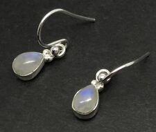 Small Rainbow Moonstone Pear Drop Earrings solid Sterling Silver, 7 x 5mm. UK.