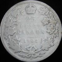 1902-H Good Details Cleaned Canada Silver 25 Cents - KM# 11