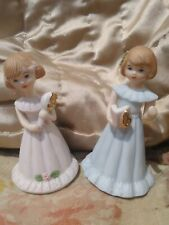 1981/1982 Enesco Growing Up Birthday Girls Porcelain Figurines -yrs 5 & 6