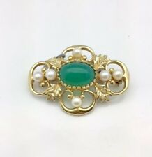 Antique 9k Chrysoprase Brooch Or Pin .