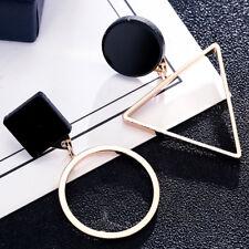1Pair Creatve Triangle Round Geometric Asymmetric Black Earrings Women Jewelry