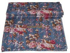 Vintage Ralli Kantha Quilt Bedspread Indian Handmade Cotton Blanket Floral Gray