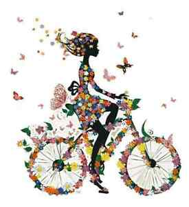 girl on bicycle butterflys flowers iron on t shirt transfer A5