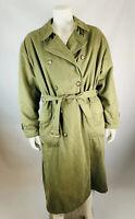 GIORGIO ARMANI Le Collezioni 42 Mens Trench Coat Belted Cotton Green Double Brea