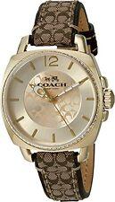 COACH Women's Boyfriend 34mm Signature Fabric Watch Gold/Khaki Watch