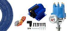 Billet Distributor Blue 8.5mm Spark Plug Wires Coil 62-76 Ford 221 260 289 302