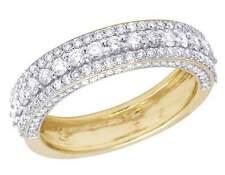 Men's Ladies 10K Yellow Gold Genuine Diamond 3D Wedding Band Ring 1 3/4 CT 6MM