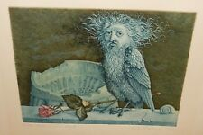 ANORPHOUS VOGEL BIRD WITH MAN FACE ETCHING LIMITED EDITION SIGNED DATED 1972