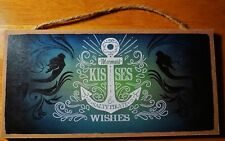 Mermaid Kisses & Salty Pirate Wishes Nautical Anchor Beach Home Decor Sign - New