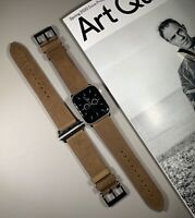 Khaki Brown Genuine Leather Strap For Apple Watch 42/44mm Series 1,2,3,4,5,6, SE