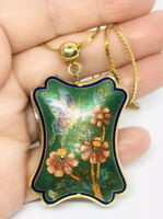 Large Chinese Export Cloisonné Enamel Necklace Green Blue Vintage Jewelry