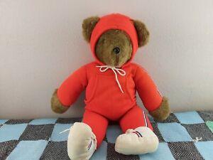 NABCO North American Bear CO 1979 Brown Teddy Stuffed Barbara Isenberg Red Suit