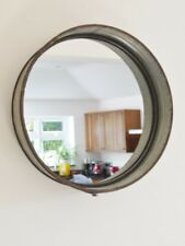 Industrial Galvanised Metal Round Wall Mirror Rustic Retro Finish Home Decor New