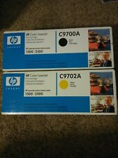 Genuine HP Color Laserjet 1500-2500 C9700A/C9702A Black, Yellow in Sealed Box