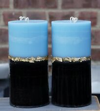 Blue Black Gold Pillar Candles Set of 2 Scented Unscented - 6 inch