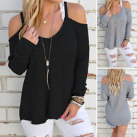Womens Casual Cold Shoulder Long Sleeve Knitwear T-shirt Tops Jumper Sweater NEW