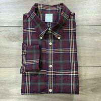 Brooks Brothers Men's Brown Plaid Check Non Iron Button Down Dress Shirt Size XL