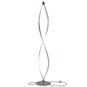 Brightech Twist LED Spiral Decorative Standing Floor Lamp with Dimmer, Silver