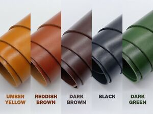2mm hi-gloss dyed veg tan leather cowhide craft - select colour & size