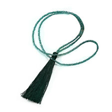 Vintage Long Fringe Tassel Necklaces Glass Beaded Crystal Swaeter Chain Jewelry