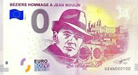 BILLET 0  EURO BEZIERS HOMMAGE A JEAN MOULIN FRANCE  2018  NUMERO 100