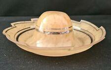 original atypique opaline suspension lustre jaune et or typique des années 50