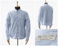 Mens POLO JEANS RALPH LAUREN Shirt Long Sleeve Striped White Blue Size M