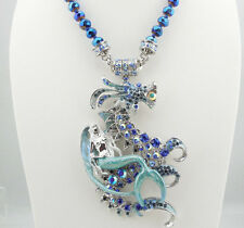 KIRKS FOLLY MERMAID'S SEA DRAGON BEADED MAGNETIC ENHANCER NECKLACE SILVERTONE