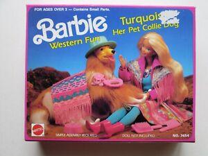 1989 Turquoise Pet Collie Dog - Barbie Western Fun NRFB