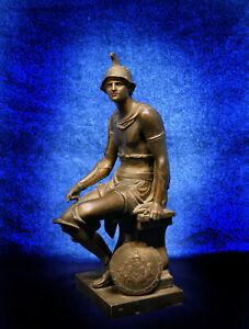 NEOCLASSICAL BRONZED SPELTER STATUE APOLLO SHIELD GREEK ROMAN ORMOLU RELIEF BUST