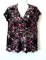 WOMEN'S MERANO BLACK WHITE PURPLE PRINT SHORT SLEEVE LINED STRETCHY TOP SIZE XL