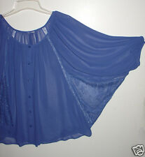 Womens Free size Sheer lacy Unbranded blue top blouse batwing arms XC