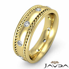 Round Cut Diamond Ring 9mm Mens Rope Eternity Wedding Band 18k Yellow Gold 0.5Ct