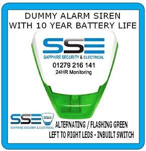 Dummy Alarm Siren- Deltabelle Model -Twin Flash Green LEDs 10yr Batt Prefitted!