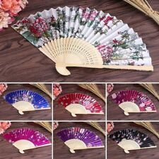 Vintage Bamboo Folding Hand Held Flower Fan Chinese Dance Party Pocket Gifts New
