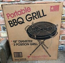 Nos Vintage MarchAllan Ohio Usa 18� Portable 3 Positiom Bbq Grill Camping In Box