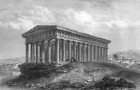 Greece ATHENS TEMPLE OF HEPHAESTUS RUINS Hephaisteion ~ 1833 Art Print Engraving