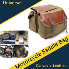 Motorcycle Motorbike Saddle Bag Tail Luggage Bag Green Canvas + Leather Durable