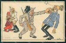 Militari Bersaglieri Propaganda WWI Kaiser Golia cartolina QT5623