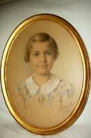Antique Portrait Painting Young Girl Italian Florentine Gilt Frame Zurich 1933