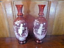 """LARGE PAIR of MARY GREGORY fluted CRANBERRY VASES - 12.25"""""""