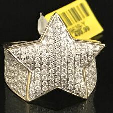 Men's 10K Yellow Gold Real Diamond Super 5 Point Star Custom Pinky Ring 2.68 CT