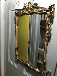 """Vintage 60-70s Gold Ornate Baroque Rococo Style 18""""x28"""" Oblong Wall Mirror"""